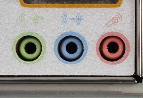 LINE OUT端子(緑),LINE IN端子(青),MIC端子(赤)の例 (@IT:ケーブル&コネクタ図鑑:サウンド/ゲーム関連コネクタ より引用)